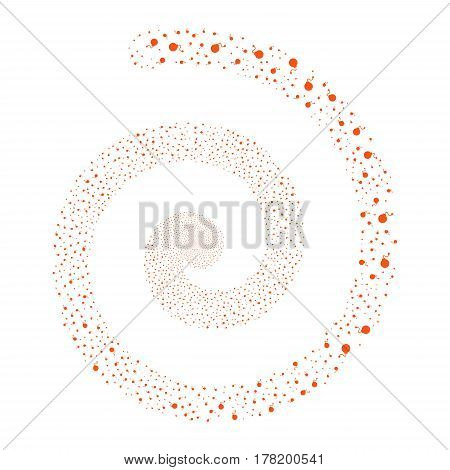 Bomb fireworks swirling spiral. Vector illustration style is flat orange scattered symbols. Object whirl created from scattered design elements.