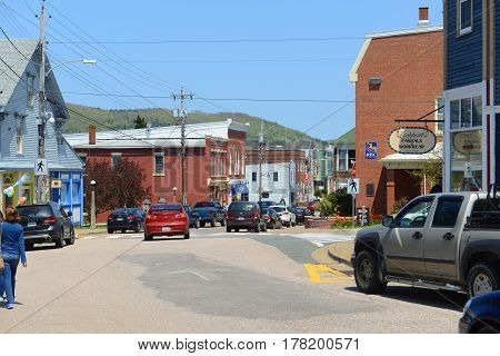 ANNAPOLIS ROYAL, NS, CANADA - MAY 21, 2016: Historic town center in Annapolis Royal, Nova Scotia, Canada. The historic core of Annapolis Royal was designated a National Historic Site of Canada in 1994.