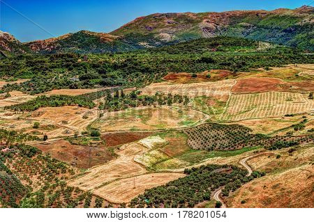 Aerial top view of a landscape in Andalusia, Spain