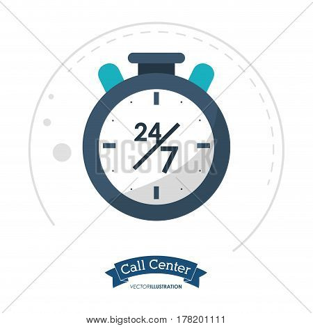 call center clock time service vector illustration eps 10
