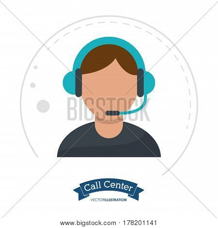 call center man receptionist help vector illustration eps 10