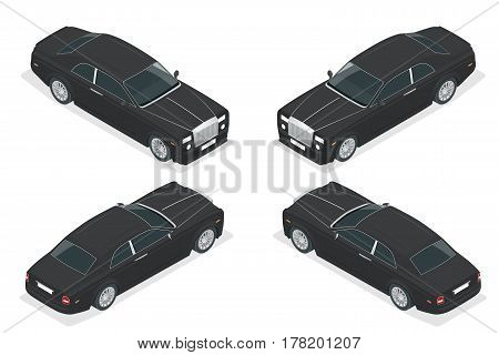 Luxury VIP car. Isometric vector representing an luxury car hire fleet or transportation.