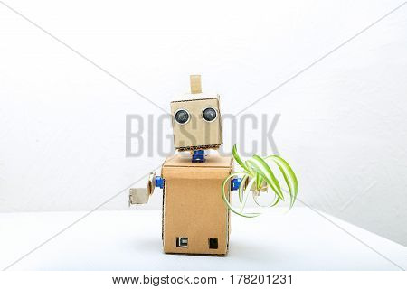 Robot with hands on the table and holding a green flower in his hand
