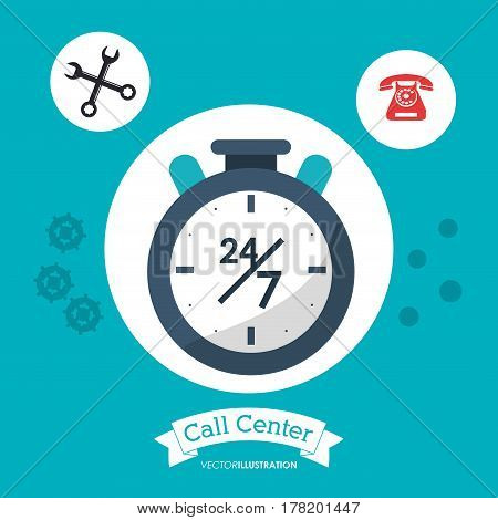 call center 24h all time service vector illustration eps 10