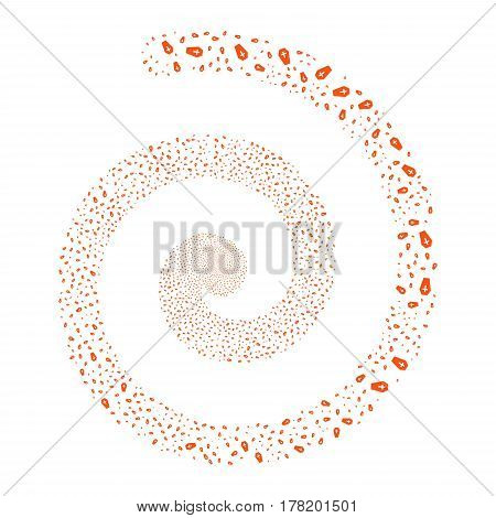 Coffin fireworks swirl spiral. Vector illustration style is flat orange scattered symbols. Object whirlpool constructed from random pictographs.