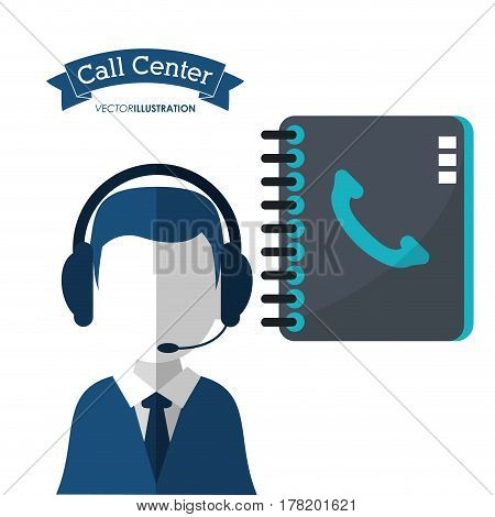 call center man assistance directory contact vector illustration eps 10
