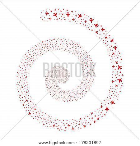 Air Plane fireworks swirl spiral. Vector illustration style is flat red scattered symbols. Object helix combined from random icons.