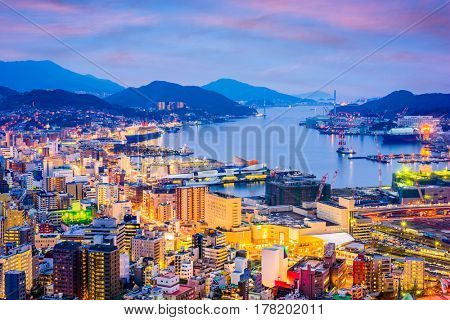 Nagasaki, Japan skyline at night.