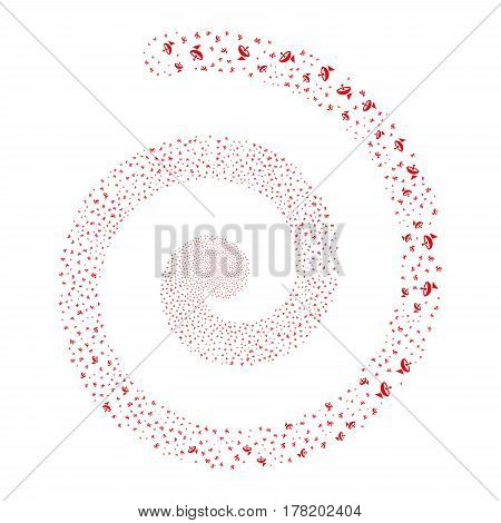 Antenna fireworks whirl spiral. Vector illustration style is flat red scattered symbols. Object whirl organized from random symbols.