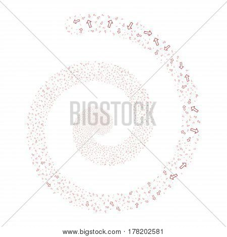 Arrow fireworks swirl spiral. Vector illustration style is flat red scattered symbols. Object twirl combined from scattered icons.
