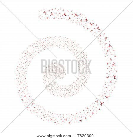 Big Bang fireworks whirlpool spiral. Vector illustration style is flat red scattered symbols. Object whirlpool organized from random design elements.