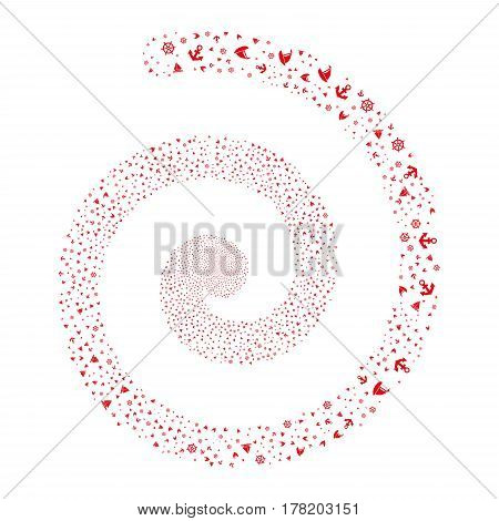 Boat Sailing fireworks swirl spiral. Vector illustration style is flat red scattered symbols. Object helix created from random pictographs.