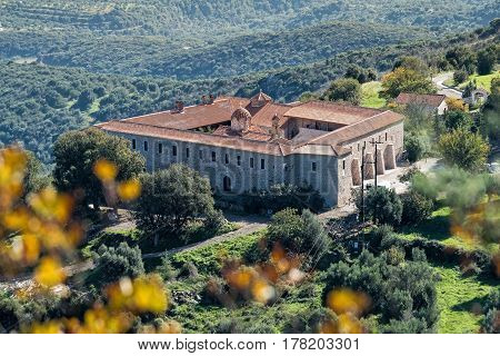 View of the Monastery of Voulkano in Peloponnese, Greece