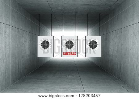 3d rendering : illustration of Abstract square cement concrete tunnel interior with shooting target hanging from roof. light at the end of tunnel. go to success on target concept.
