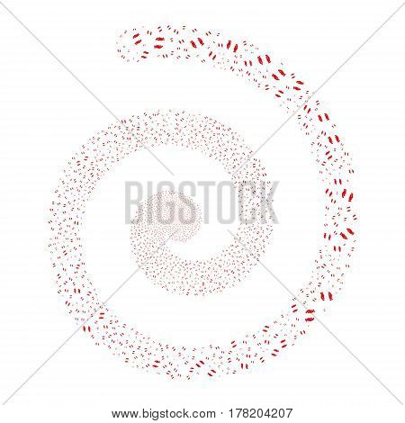 Care Hands fireworks vortex spiral. Vector illustration style is flat red scattered symbols. Object vortex organized from random pictograms.