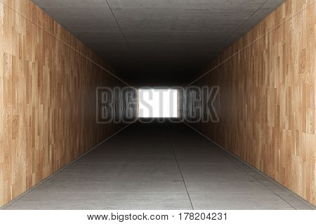 3d rendering : illustration of Abstract square cement concrete floor tunnel interior with wooden tile wall light at the end of tunnel go to success concept abstract tunnel background