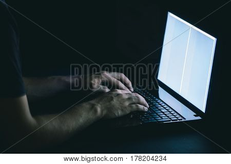 Russian hacker hacking the server in the dark