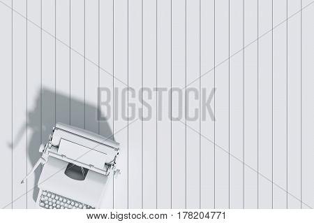 3d Rendering : illustration of vintage typewriter paper on the white wooden tile background. vintage ancient picture background.