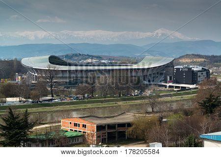 Skopje, Macedonia, march 20, 2017: Filip II Stadium, soccer field in Skopje, Macedonia