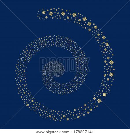 Books fireworks burst spiral. Vector illustration style is flat yellow scattered symbols. Object vortex made from scattered pictograms.