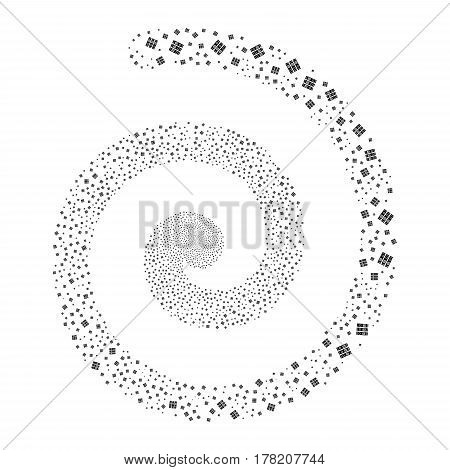 Books fireworks burst spiral. Vector illustration style is flat black scattered symbols. Object vortex made from scattered pictograms.