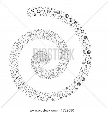Clock Wheel fireworks vortex spiral. Vector illustration style is flat black scattered symbols. Object vortex done from scattered icons.
