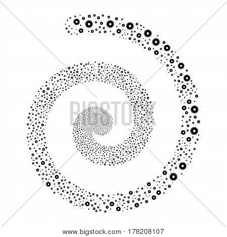 Cogwheel fireworks swirl spiral. Vector illustration style is flat black scattered symbols. Object helix organized from scattered pictographs.