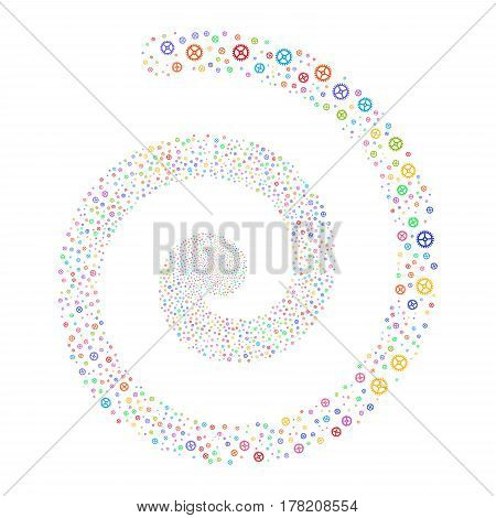 Clock Gear fireworks swirling spiral. Vector illustration style is flat bright multicolored scattered symbols. Object whirlpool made from scattered pictographs.