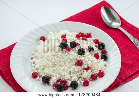 Homemade Cottage Cheese With Red And Black Currants