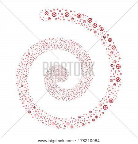 Clock Gear fireworks whirlpool spiral. Vector illustration style is flat red scattered symbols. Object whirlpool organized from random pictograms.