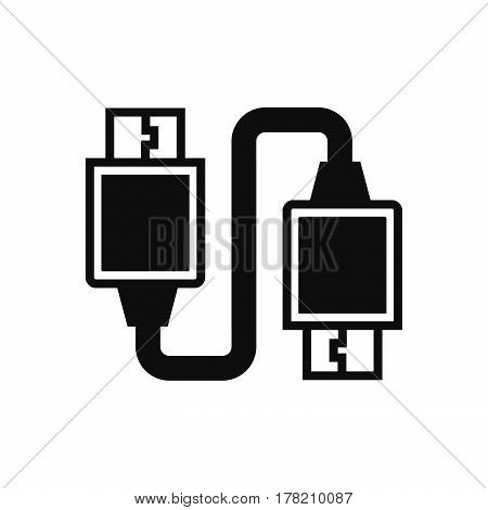 Twin USB Adapter Black icon vector design support file eps10.