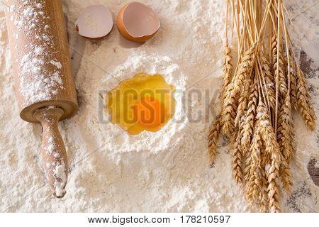 Basic baking ingredients background- Cooking concept