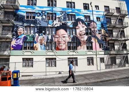SAN FRANCISCO - AUGUST 24: The Ping Yuen Mural on Stockton Street in Chinatown San Francisco