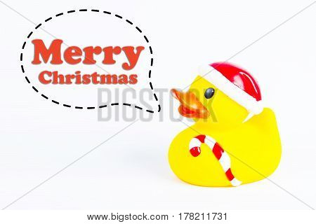 bath duck with callout symbol and message