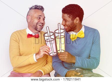 Men Cheering with Drinks Paper Craft Studio Portrait