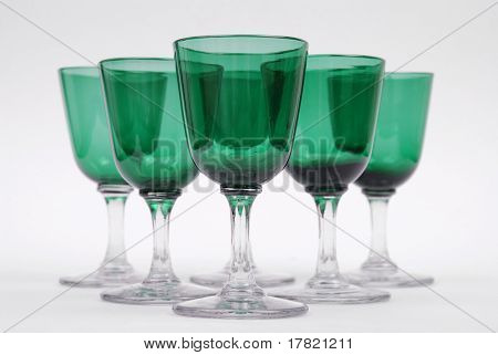 A set of Victorian bristol green wine glasses