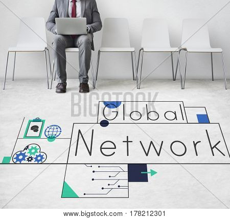 Network connection graphic overlay banner on floor
