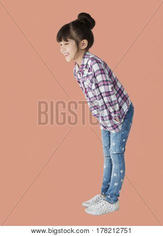 Young asian kid having fun laughing portrait