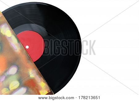 Disk music blank vinyl album cover sleeve mockup isolated clipping path. Gramophone music plate clear surface  acoustic pickup