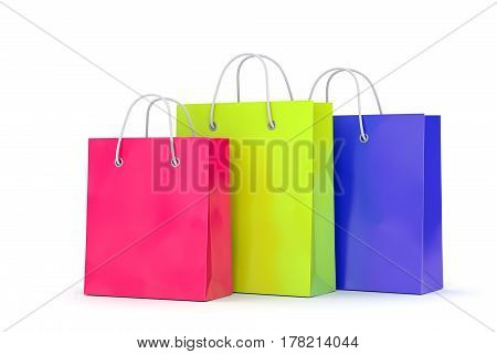 Group of color paper shopping bags isolated on white background. Business retail sale and online commerce concept. 3D illustration
