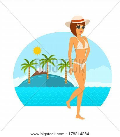 Young woman in bikini concept. Young tanned girl in beautiful underwear and in a hat, resting on the beach in the summer in the tropics. Vector illustration isolated on white background.