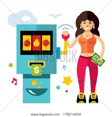 Woman checks her luck pulling the lever one-armed bandit. Isolated on a white background