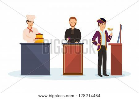 Men's professions. Cook pastry cook baking cake, judge behind podium, theater actor with a mask in his hand rehearses in front of the mirror. Vector illustration isolated in cartoon style