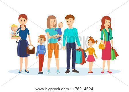 Groups of families with children over shopping. Mother and children are walking around the shop, next is family with purchases and girl with packages. Vector illustration isolated in cartoon style.
