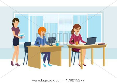 Group of office workers. Girls work at computer, discussing project and doing their work, the beside worth colleague with books and documents in hand. Vector illustration isolated in cartoon style.