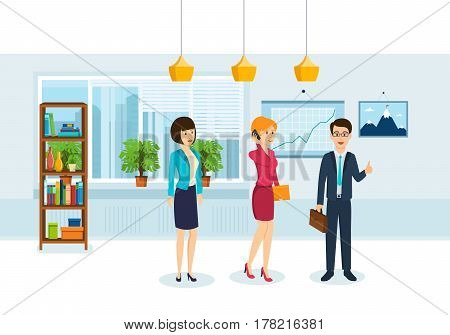 Girl with documents, colleague is talking on phone, the chief decides the performance question on meeting of employees to solve the tasks of the company. Vector illustration isolated in cartoon style.