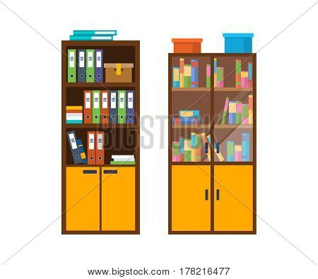 Modern office wooden cabinet with many folders and accounting files with documents. Vector illustration isolated in cartoon style.