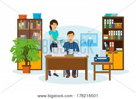 Business couple together. Office worker at his laptop working on a project, a number of employee documents and files, on a background of interior room. Vector illustration isolated in cartoon style.