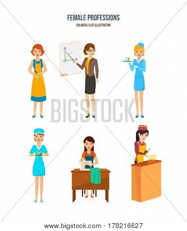 Female professions. Womens of different professions: hairdresser, businesswoman, service employee, laboratory assistant, seamstress, grocery seller. Vector illustration isolated in cartoon style.