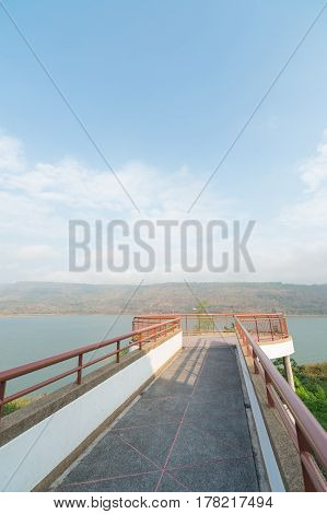 Viewpoint on Mountains reservoir lake at Lamtakhong Dam Nakhon Ratchasima Province Thailand Natural of mountain and dam and blue sky
